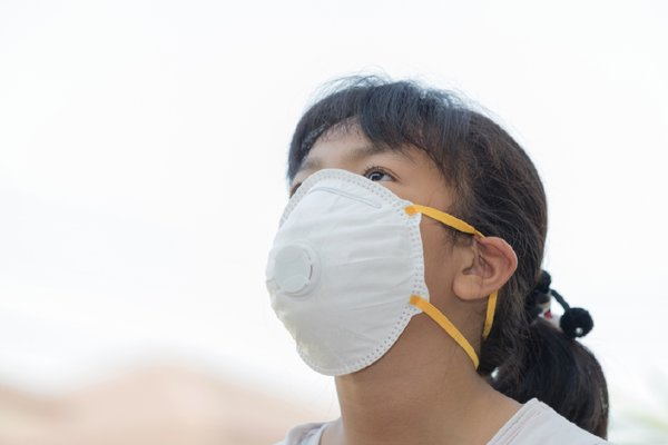 Girl Wearing Mask Due to Haze and Air Pollution
