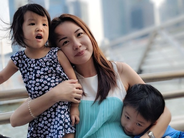 Stay At Home Mom Jacinth Liew with her Two Children